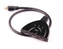 "5-871 Переключатель 3 x HDMI ""гн"" - HDMI ""шт"" пластик ""позолоченный"" с кабелем OD7.0мм 0.5м"