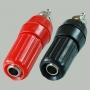 """Разъем BANANA """"гн"""" 45 мм пластик на корпус с шайбой, красный и черный"""