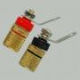"""Разъем BANANA """"гн"""" 35мм с изолятором металл """"позолоченный"""" на корпус (красный и черный). Кабель до 6.0мм."""