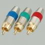 """Разъем RCA """"шт"""" металл """"позолоченный"""" на кабель, красный, синий и зеленый (ITEC)"""