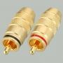 """Разъем RCA """"шт"""" металл """"позолоченный"""" с термостойким изолятором на кабель, красный и черный"""