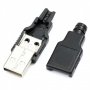 Штекер USB (А) на кабель пластик разборный, 06-038