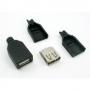 Гнездо USB (А) на кабель пластик разборный, 06-039