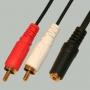 """Переход 2 x RCA """"шт"""" - 3.5мм """"гн"""" стерео пластик """"позолоченный"""" с кабелем 0,3м"""