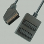 "Переход SCART ""шт"" - 2 х SCART ""гн"" пластик с кабелем 0.3м"