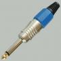 """Разъем аудио 6.35мм """"шт"""" моно металл цанга """"позолоченный носик"""" на кабель, синий"""