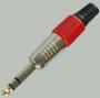 """Разъем аудио 6.35мм """"шт"""" стерео металл цанга """"позолоченный носик"""" на кабель, красный"""