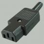 """Гнездо сетевое """"3 PIN"""" пластик на кабель 250V 10A, 3-021 ( AC-102, K2416, AS-413, CP-22S)"""