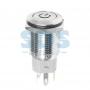 Кнопка антивандальная Ø16 250В Б/Фикс (5с) (ON)-OFF плоская подсв/синяя POWER, 36-3244